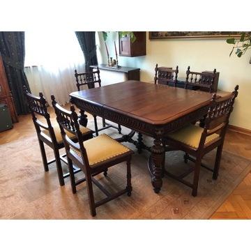 Stół neorenesansowy + komplet 6 krzeseł