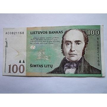 LITWA; 100 LITÓW - RZADKI I ŁADNY BANKNOT