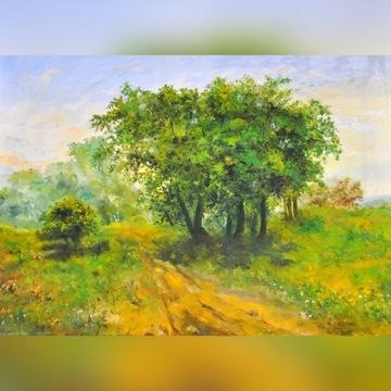 Pejzaż olejny płóto ''Drzewo'' Przesłańska  Desa