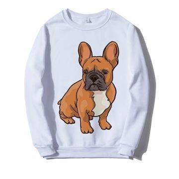 Bluza biała pies buldog francuski buldozek S-XXL