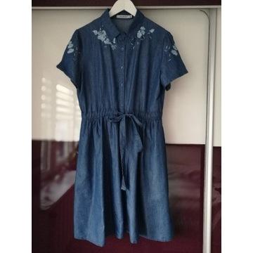 Jeansowa sukienka z kwiatami L 40