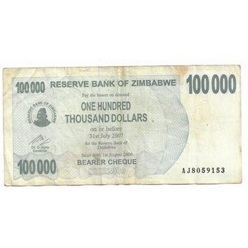 Zimbabwe 100000Dolarów 2007r