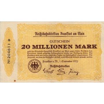 20 mln marek Frankfurt 1923 kolejowy