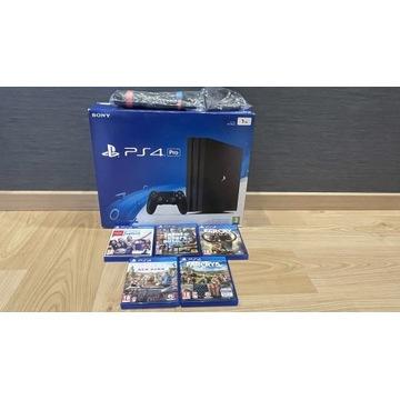 Sony Playstation 4 PRO 1TB + mikrofony + 5 gier