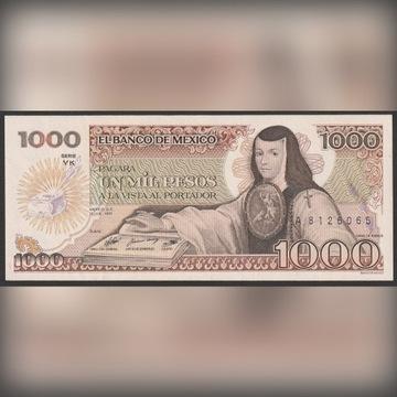 Meksyk 1000 pesos 1985 - de Asbaje - stan UNC