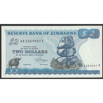 Zimbabwe 2 dolary 1983 - Bawół - stan UNC -