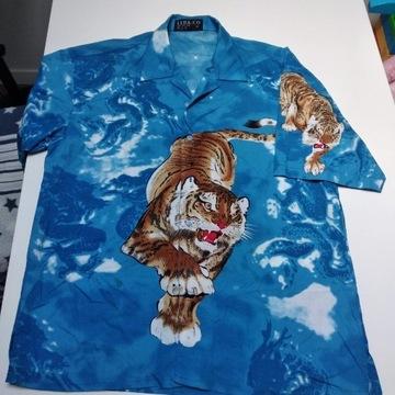 Koszula vintage tygrys M/L bawełna