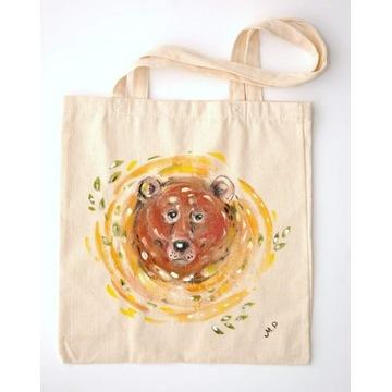 Ręcznie malowana torba bawełniana -niedźwiedź