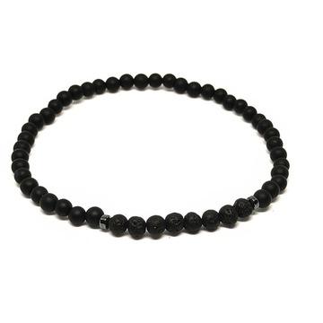 Bransoletka męska kamienie czarny onyks lawa