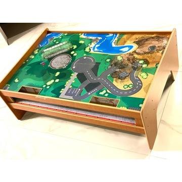 Drewniany stół pod kolejkę drewnianą 117x77x37 cm