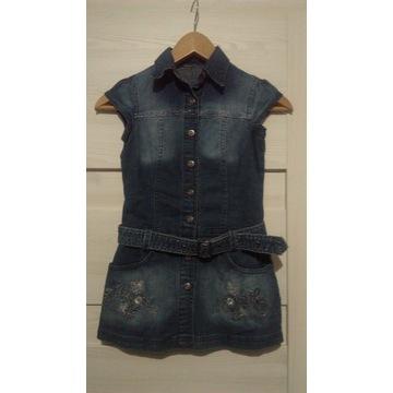 Sukienka jeansowa szmizjerka r. 128