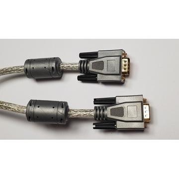 Przewód VGA złocony z rdzeniami + Przejściówka DVi