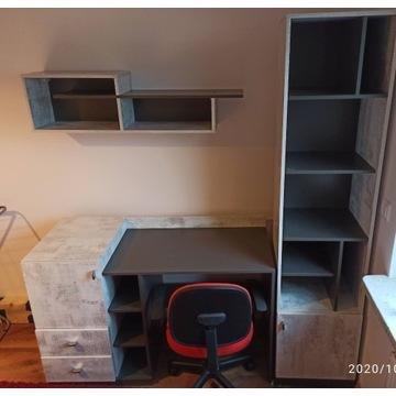 Zestaw mebli : Biurko, szafa, słupek i półka
