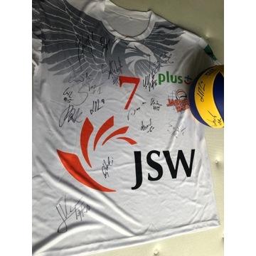 JASTRZĘBSKI WĘGIEL koszulka i piłka z autografami