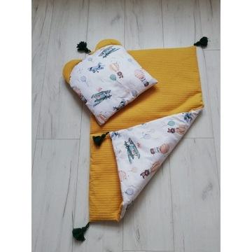 Kocyk poduszka zestaw. Wafelek bawełna premium.