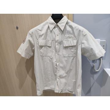 beżowa koszula na krótki rękaw