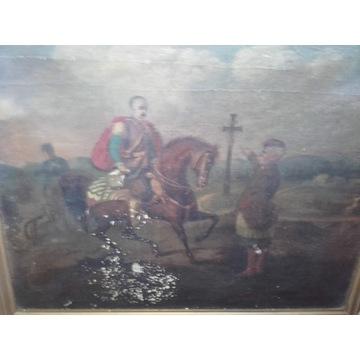 Stary obraz olejny malowany na płótnie