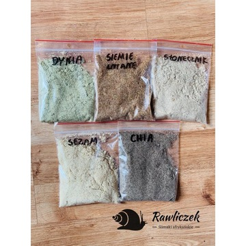 Zestaw mielonych nasion,ślimak afrykański,achatina