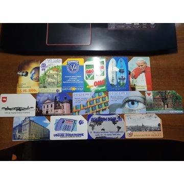 Zestaw 15 kart telefonicznych polskich