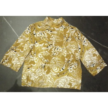 H&M - wzorzysta bluzka - top z golfem roz. 34