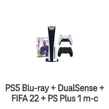 PS5 Blu-ray + DualSense + FIFA 22 + PS Plus 1 m-c