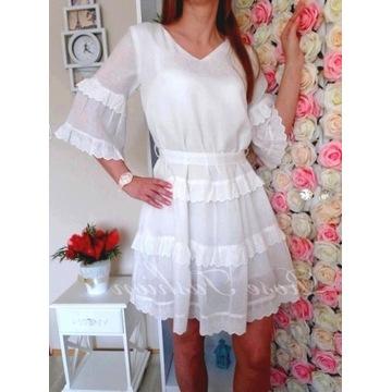 Biała sukienka BOHO zwiewna falbany haft roz.M
