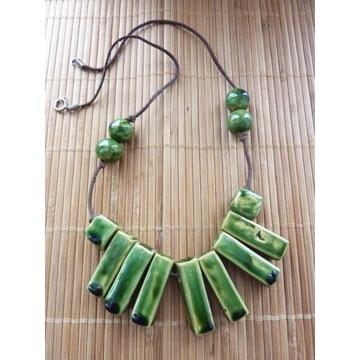Oryginalny naszyjnik z ceramika zielony rzemyk