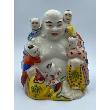 Stara figurka porcelanowa Budda z dziećmi