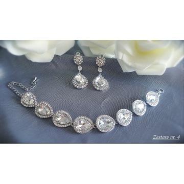 Komplet biżuteria ślubna wieczorowa cyrkonie Z4