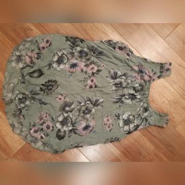 Wloska bluzeczka kwiatu len bawełniana XL