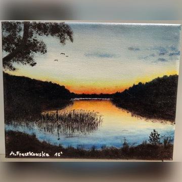 Obraz olejny 19x24 cm pejzaż jezioro od autora