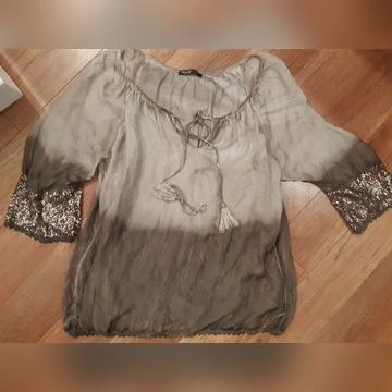 M&G bluzka jedwabna jedwab cekiny XL