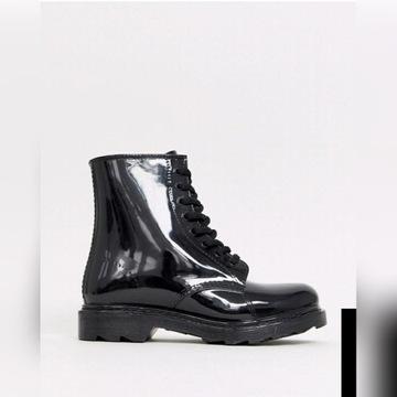 Buty kalosze wiazane blyszczace 23 cm 35 36 nowe