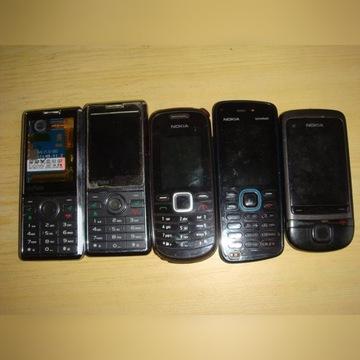 pięć telefonów 3xnokia i 2xMyPhone