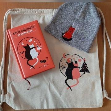 Planer, czapka, plecak motyw z kotem