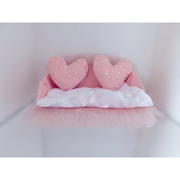 Różowa sofa mebel mebelek dla lalki do domku