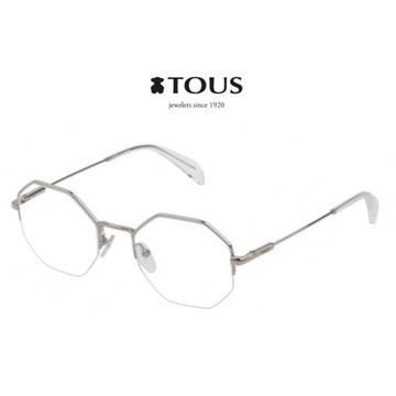 Markowe okulary oprawki TOUS VTO396 srebrne metalo