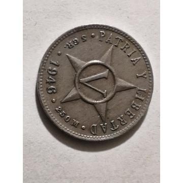 5 Centavos 1946 rok Kuba Oryginał