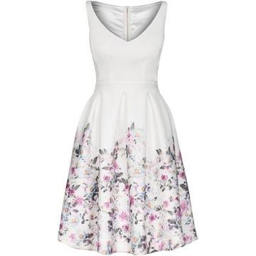 Biała nowa sukienka Mosquito motywem kwiatowym M