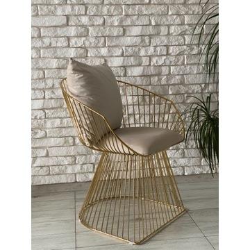 Krzesła metalowe, nowoczesne .Złote . Loft