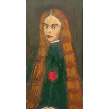 dama z czerwonym tulipanem