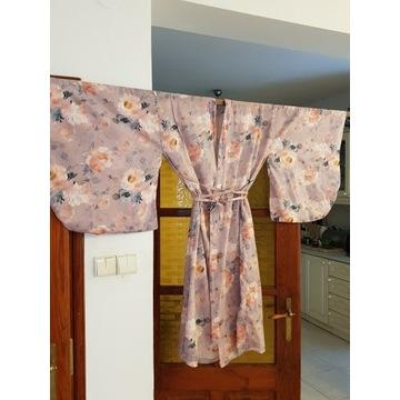 Kimono yukata 100% len handmade lilaróż plus size