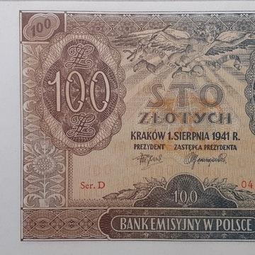 Banknot 100 zł 1941 rok Oryginał stan UNC seria D
