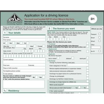form formularz DVLA D1 - UK angielskie prawo jazdy