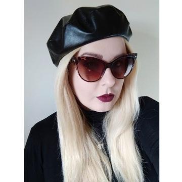 Czarny beret damski z ekoskóry czapka