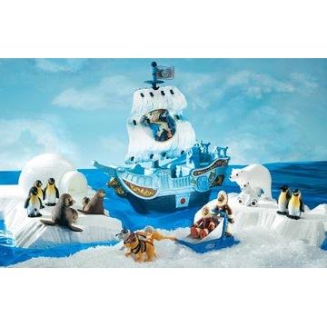 Wyprawa polarna statek iglo Eskimosi pingwiny
