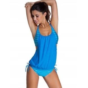 Nowe TANKINI Błękitne strój kąpielowy r. L oraz XL