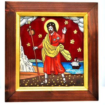 Św. Jakub Apostoł Camino Santiago - na szkle ramka