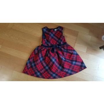 Sukienka w kratkę z kokardką H&M dziewczynka r.92