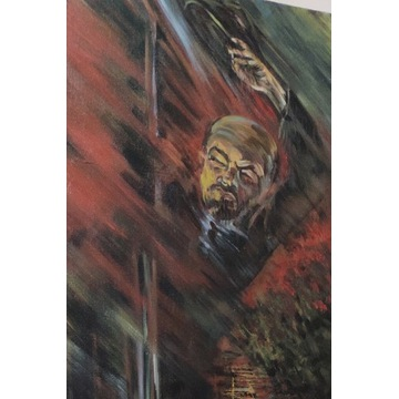 "obraz Lenin - akryl ""powrót na zachód"""